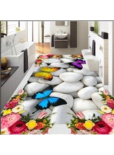 White Cobblestone with Flowers and Butterflies Decoration Waterproof 3D Floor Murals