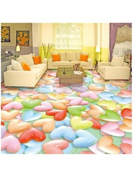 Colorful Heart Shaped Candies Pattern Waterproof Splicing 3D Floor Murals