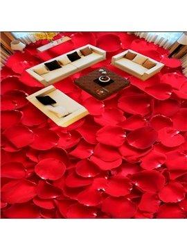 Red Rose Petals Pattern Simple Style Home Decorative Waterproof 3D Floor Murals
