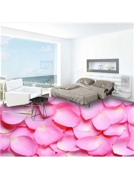 Special Pink Rose Petals Design Waterproof Home Decorative 3D Floor Murals