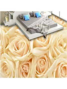 Warm Champagne Roses Pattern Home Decorative Nonslip 3D Floor Murals