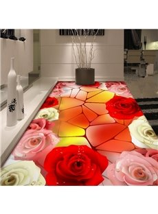 Charming Three Colors Roses Pattern Home Decorative Waterproof 3D Floor Murals