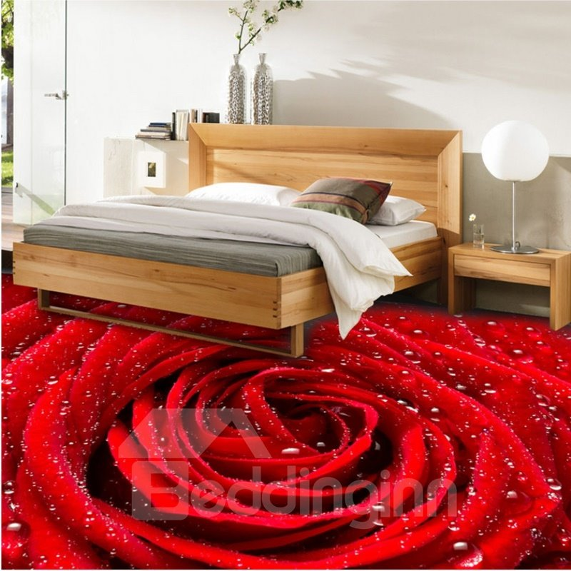 Fresh red rose with water drops pattern waterproof for 3d murals for sale