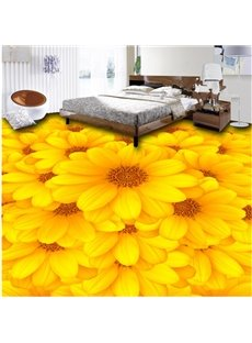 Fancy Decorative Sunflowers Pattern Waterproof Splicing 3D Floor Murals