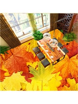 Fabulous Creative Maple Leaves Print Design Nonslip and Waterproof 3D Floor Murals