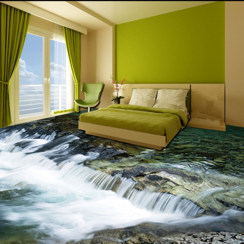 Fresh Cool Limpid River Print Home Decorative Waterproof 3D Floor Murals