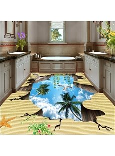 Special Design Flying Sea Gulls in the Broken Hole Sky Pattern 3D Floor Murals