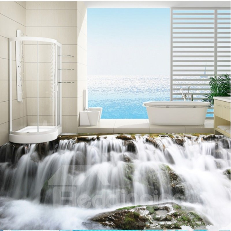 Realistic waterfalls print nonslip and waterproof bathroom for 3d murals for sale