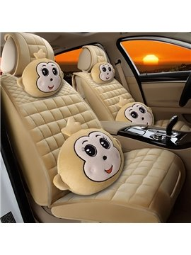 Lovely Cute Monkey Smiling Face Design Comfortable Universal Five Car Seat Cover