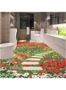 Gorgeous Flowers Stone Path Pattern Home Decorative 3D Floor Murals