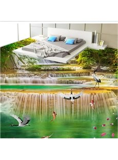 White Cranes Playing in the Stream Scenery Print Waterproof 3D Floor Murals