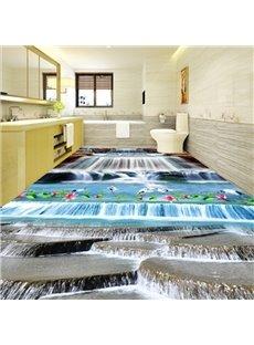 Decorative Creative Design Waterfalls and White Cranes Print Waterproof 3D Floor Murals