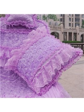 Charming Purple Rose With Beautiful Lace Design Muti-Use Car Pillow