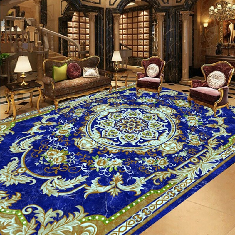 European Style Flower Print Area Rug Design Waterproof 3d