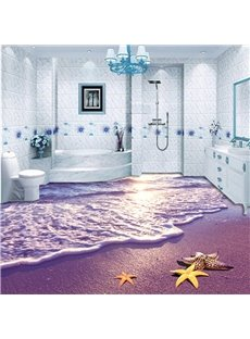 Purple Sunset Beach Scenery Pattern Nonslip and Waterproof 3D Floor Murals