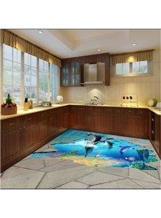 Amusing Jumping Dolphins in Broken Floor Pattern Waterproof 3D Floor Murals