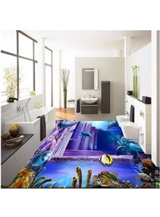 Leisurely Dolphins and Fishes in Underwater World Pattern Waterproof 3D Floor Murals