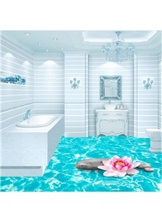 Blue Shining Sea Print Home Decorative Nonslip and Waterproof 3D Floor Murals