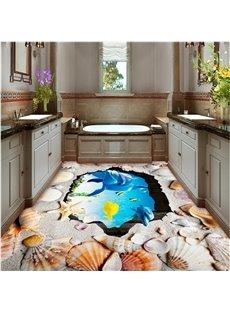 Amazing Dolphins and Seashells Print Waterproof Splicing 3D Floor Murals