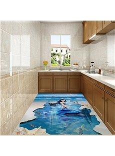Incredible Elegant Mermaid in the Sea Print Nonslip and Waterproof 3D Floor Murals