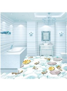 White Pebbles and Goldfishes in Limpid Water Print Waterproof 3D Floor Murals