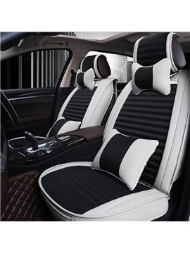 Fashion Contrast Color Style Design Comfortable PU Leather Flax Material Universal Car Seat Cover