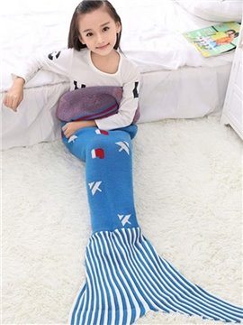 Pretty Christmas Tree Pattern Blue Mermaid Tail Design Blanket