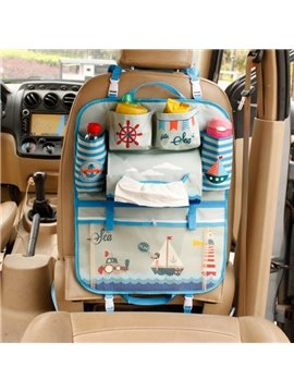Cartoon Sailboat Design High Capacity Hanging Car Backseat Organizer