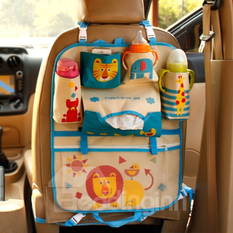 Anti-kicking Muti-use High Capacity Cartoon Lion Car Backseat Organizer