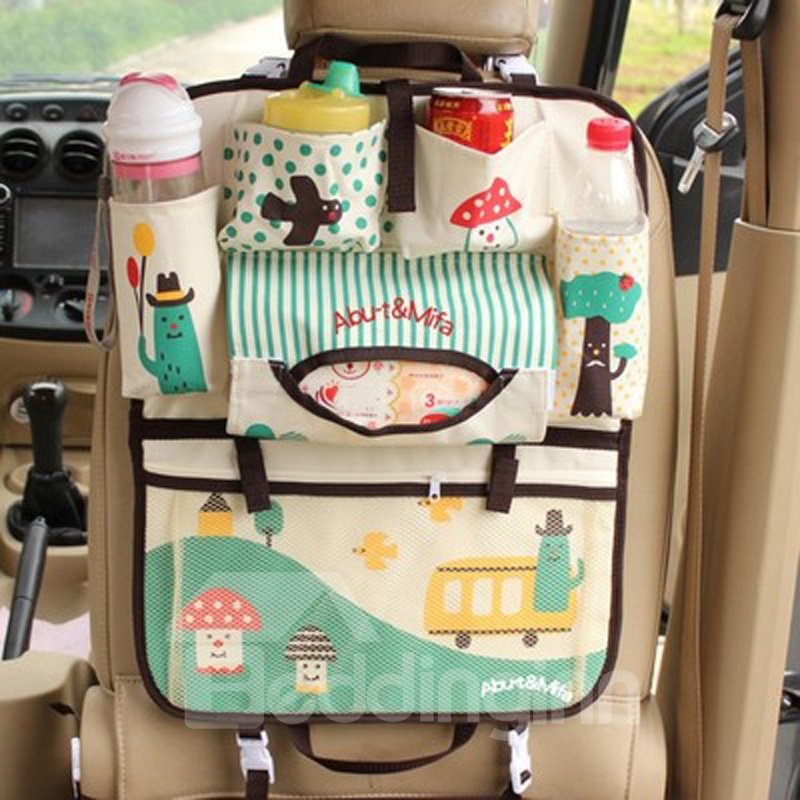 Lovely Cartoon Small Mushroom Pattern Durable Oxford Cloth Material Hanging Car Backseat Organizer
