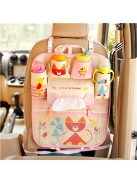 Multi-Pocket High Capacity Anti-Kicking Cute Little Fox Car Backseat Organizer