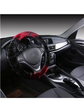 Soft Velvet Material 3-Pieces Cost-Effective Medium Car Steering Wheel Cover