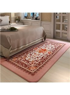 Rectangle Polyester Flowers Print Washable Home Decorative Area Rug