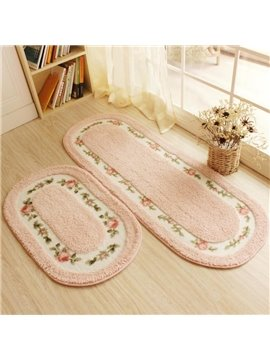 Warm Soft Country Style Flower Print Design 2 Pieces Decorative Area Rugs