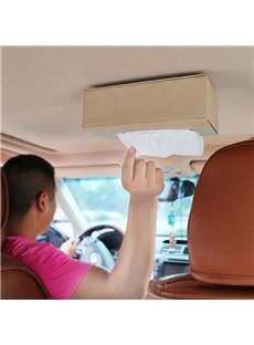 Light Luxury Leather Material Hanging Portable Paper Pump Car Organizer