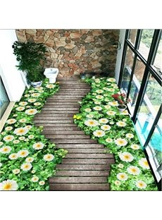 Natural Path Through the White Flowers Pattern Home Decorative Waterproof 3D Floor Murals
