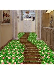 Special Path Through the Flower Field Print Waterproof Splicing 3D Floor Murals