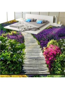 Beautiful Wooden Path Through the Lavender Field Print Waterproof Splicing 3D Floor Murals