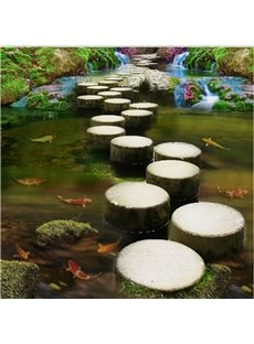 Natural Stone Path Through the River Pattern Waterproof Splicing 3D Floor Murals