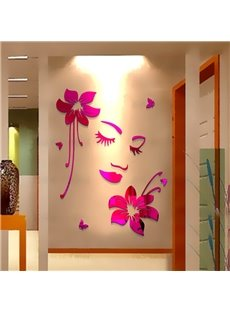 Elegant Beautiful Girl Face and Flower Pattern Home Decorative 3D Wall Stickers