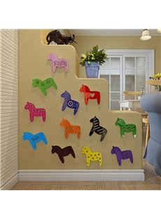 Cute Colorful Simple Style Horse Shape Design Children Room Decoration 3D Wall Stickers