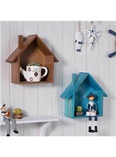 Cute Wooden Modern Style House Shape Home Decorative Wall Shelves