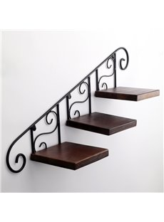 Classic Wooden Iron Frame Flowerpot and Decoration Holder Wall Shelves