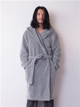 Concise Grey Thicken Men's Bathrobe with Hood