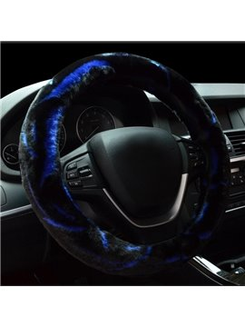 Fashion Color Mixing Comfortable Plush Warming Car Steering Wheel Cover