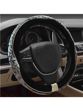 Contrast Color Design Velvet Plush Winter Car Steering Wheel Cover