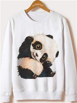 Super Cute Panda Pattern White Printed Hoodie