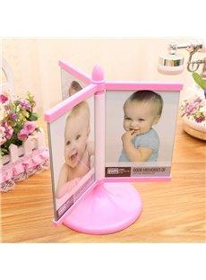 Cute Plastic Rotatable 6 Photos Children Room Decoration Table Photo Frame