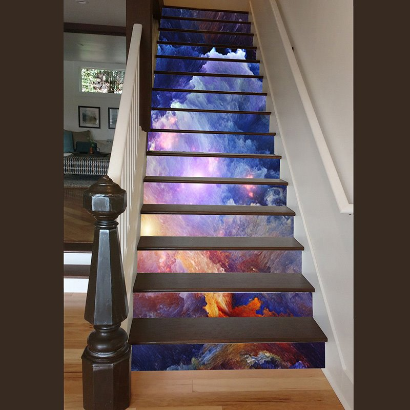 58 Cool Ideas For Decorating Stair Risers: Unique Design Sunlight In Clouds Print Home Decorative