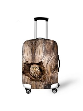 Owl in Tree Hole Pattern 3D Painted Luggage Protect Cover